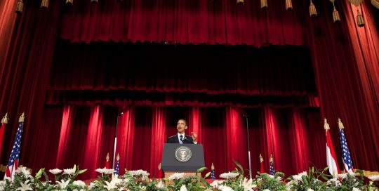President Barack Obama speaks at Cairo University in Cairo, Thursday, June 4, 2009. In his speech, President Obama called for a 'new beginning between the United States and Muslims', declaring that 'this cycle of suspicion and discord must end'.   Official White House Photo by Chuck Kennedy