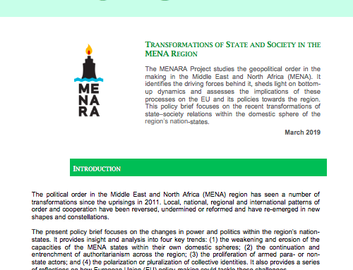 TRANSFORMATIONS OF STATE AND SOCIETY IN THE MENA REGION